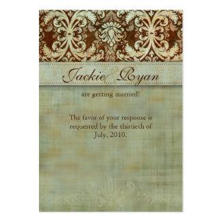 La respuesta del boda carda el vintage verde del d plantillas de tarjetas de visita