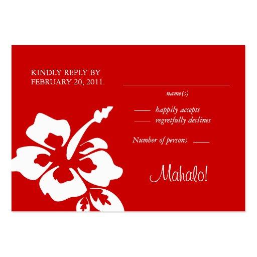 La respuesta del boda de playa carda rojo del tarjetas de visita grandes