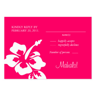 La respuesta del boda de playa carda rosa del hibi plantilla de tarjeta de negocio