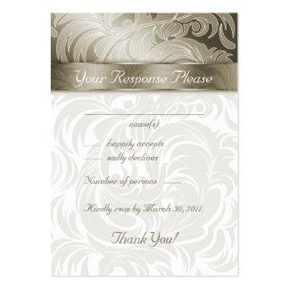 La respuesta elegante del boda carda el oro de la tarjeta de visita