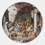 La resurrección de Lazarus de Boccaccino Camillo Pegatina Redonda