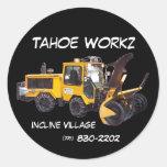 La retirada de la nieve del LLC de Tahoe Workz Etiqueta Redonda