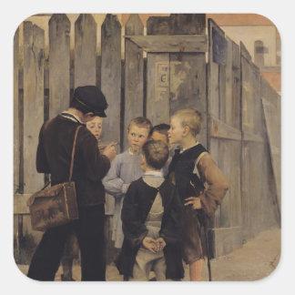 La reunión, 1884 pegatina cuadrada