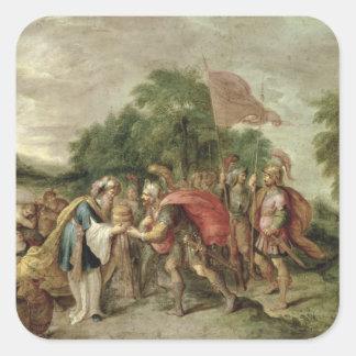 La reunión de Abraham y de Melchizedek Pegatina Cuadrada