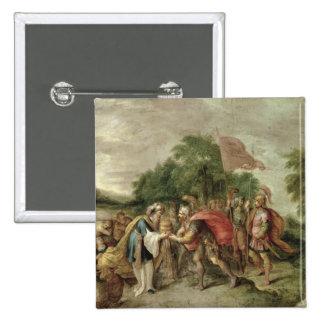 La reunión de Abraham y de Melchizedek Pin Cuadrado
