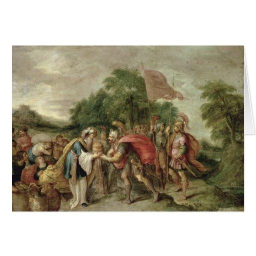 La reunión de Abraham y de Melchizedek Tarjetón
