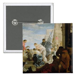 La reunión de Anthony y de Cleopatra, c.1645 Pin Cuadrado