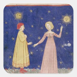 La reunión de Dante y de Beatriz Pegatina Cuadrada