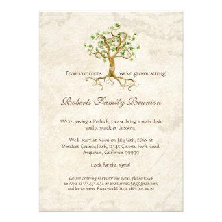 La reunión de familia Antiqued las raíces del árbo Invitacion Personal