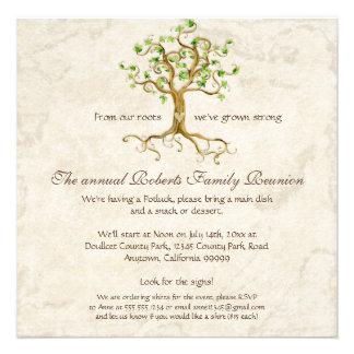 La reunión de familia Antiqued las raíces del árbo Anuncio