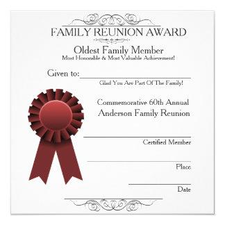 """La reunión de familia elegante de la cinta roja invitación 5.25"""" x 5.25"""""""