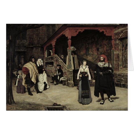 La reunión de Fausto y de la margarita, 1860 Tarjeta De Felicitación