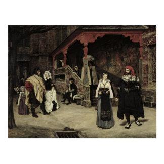 La reunión de Fausto y de la margarita, 1860 Postal