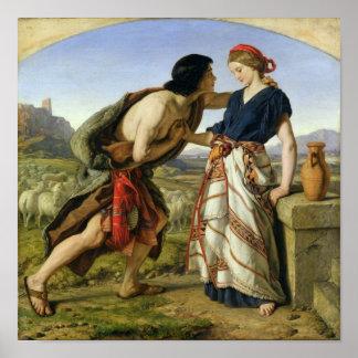 La reunión de Jacob y de Raquel, 1853 Póster