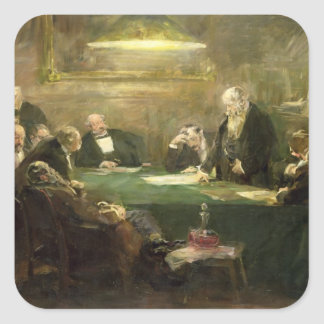 La reunión de la junta directiva, 1900 pegatina cuadrada