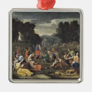 La reunión del maná, c.1637-9 adorno navideño cuadrado de metal