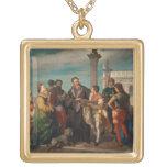 La reunión entre Titian (1488-1576) y Verones Colgante Cuadrado