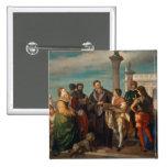 La reunión entre Titian (1488-1576) y Verones Pin Cuadrada 5 Cm