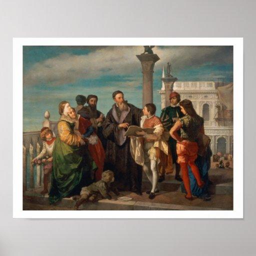 La reunión entre Titian (1488-1576) y Verones Póster