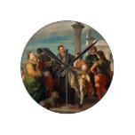 La reunión entre Titian (1488-1576) y Verones Reloj Redondo Mediano