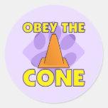 La Reunión-o obedece el cono Etiquetas Redondas