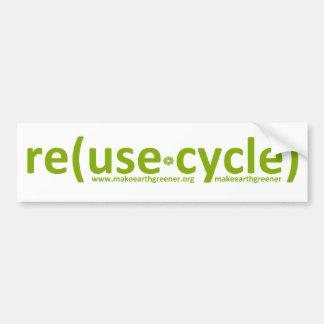 la reutilización recicla reduce etiqueta de parachoque