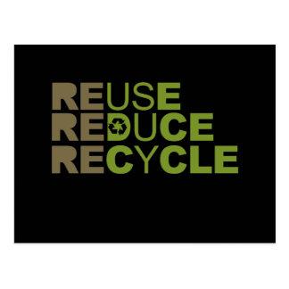 La reutilización reduce recicla la camiseta tarjetas postales