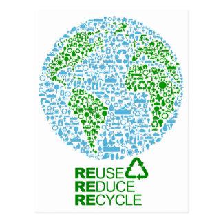 La reutilización reduce recicla para nuestra postal