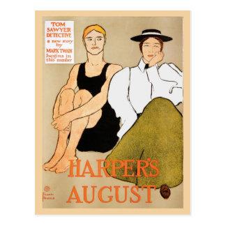 La revista agosto de Harper del nouveau del arte d Tarjetas Postales