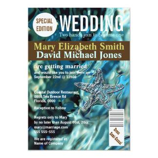 """La revista del boda de playa de las estrellas de invitación 5"""" x 7"""""""