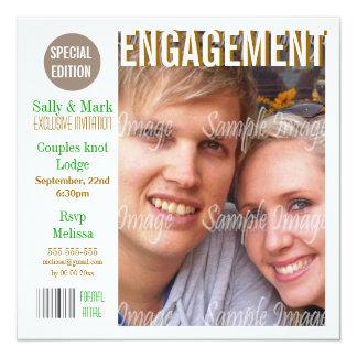 La revista marrón verde del compromiso PERSONALIZA Invitacion Personal