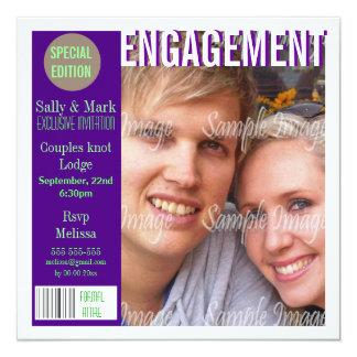 La revista verde púrpura del compromiso invitación