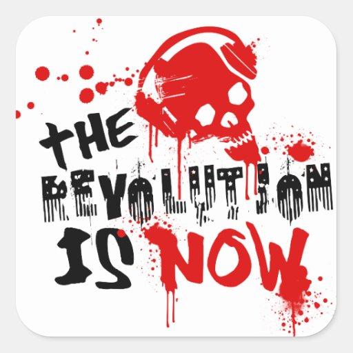 La revolución ahora está pegatina cuadrada