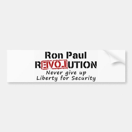 La revolución de Ron Paul nunca da para arriba lib Pegatina De Parachoque
