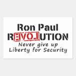 La revolución de Ron Paul nunca da para arriba Rectangular Pegatina