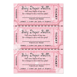 La rifa del pañal del bebé marca rosa tarjetas de visita grandes