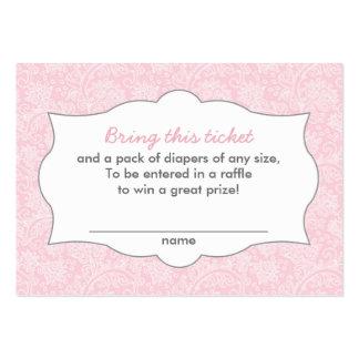 La rifa rosada del pañal del damasco marca tarjetas de visita grandes