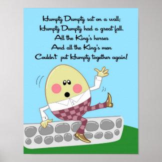 la rima de 11x14 Humpty Dumpty embroma arte de la  Póster
