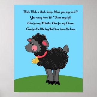 la rima de las ovejas negras de 11x14 Bah Bah embr Póster