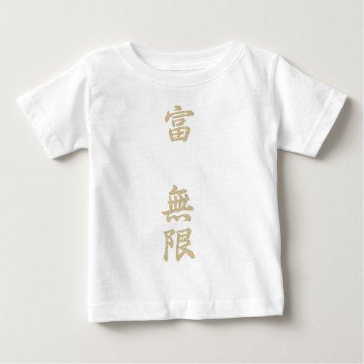 La riqueza es texto del infinito-Kanji-oro Remeras