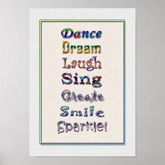 La risa de la danza canta el poster de la cita