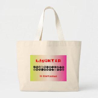 La risa es contagiosa bolsa tela grande
