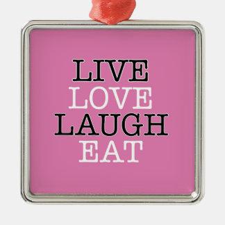 La risa viva del amor come adorno navideño cuadrado de metal