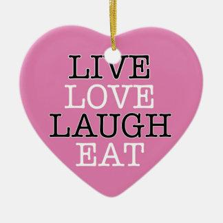 La risa viva del amor come adorno navideño de cerámica en forma de corazón