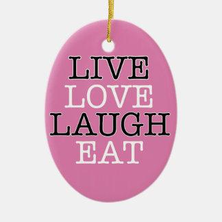 La risa viva del amor come adorno navideño ovalado de cerámica