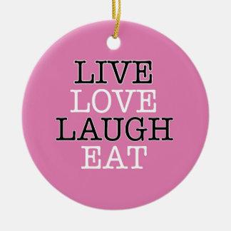 La risa viva del amor come adorno navideño redondo de cerámica