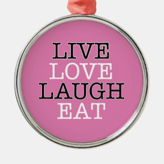 La risa viva del amor come adorno navideño redondo de metal