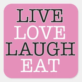 La risa viva del amor come pegatina cuadrada