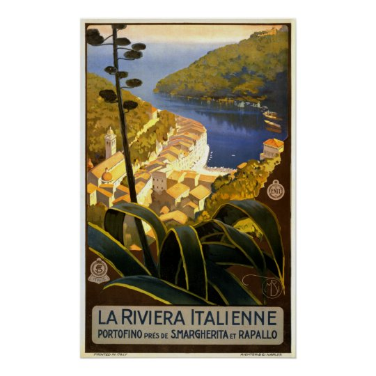 La Riviera Italienne Portofino Travel Poster 1920