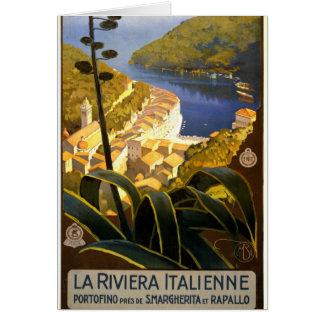 La Riviera Italienne Portofino Travel Poster 1920 Greeting Card